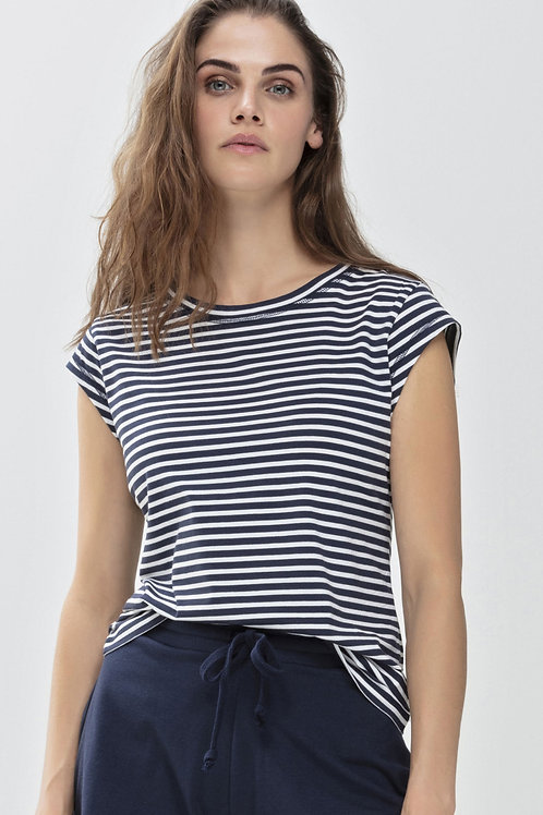 Modal Capped Sleeve T Shirt - Striped Navy
