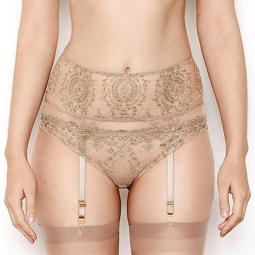 Katherine Hamilton Abrielle Gold Embroidered Suspender Belt