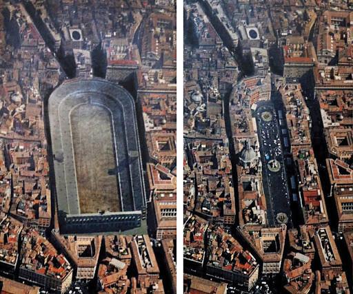 fotos aereas do local da praca navona em roma