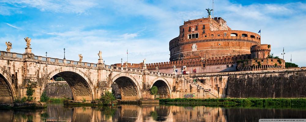 foto de roma com a ponte e castelo sant angelo