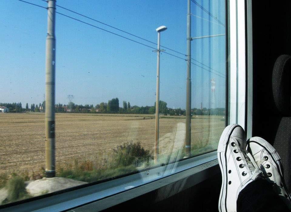 Vista de uma janela de trem, onde se vê um campo e postes de luz
