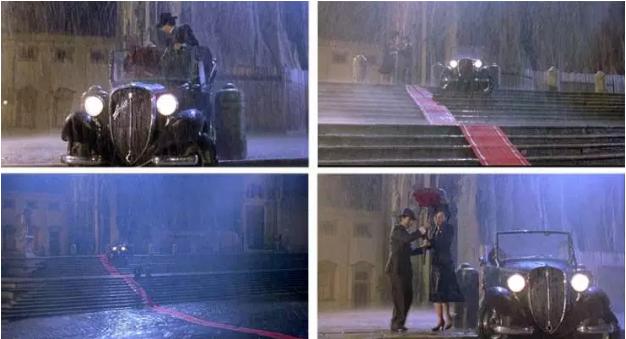 mostra uma montagem de quatro fotos da cena de chuva do filme a vida e bela
