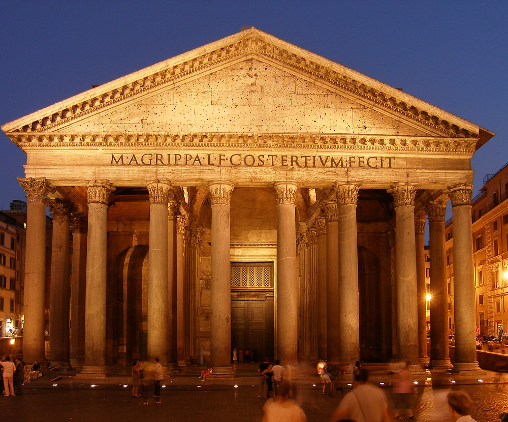 foto noturna do pantheon em roma