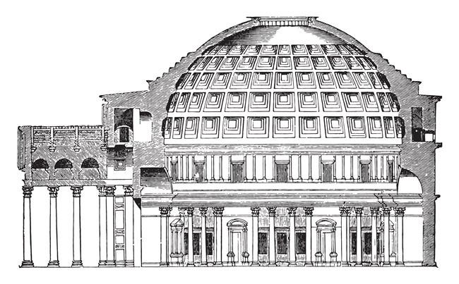 desenho da estrutura do pantheon