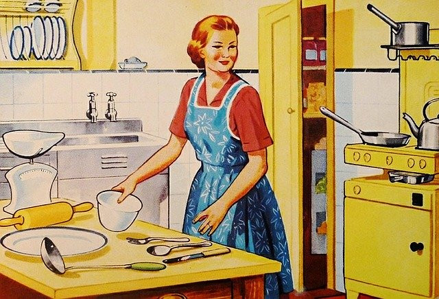 drawn image of a 1950s housewife preparing to bake and smiling with apron on