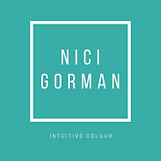 Turquoise square logo, with a white square outline containing the words NICI GORMAN in white. Below the white box are the words intuitive colour