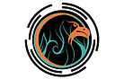 logo showing orange phoenix head, within teal flames, within a black labyrinth