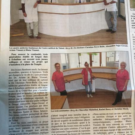 Le Centre médical du Talent dans l'Echo du Gros-de-Vaud
