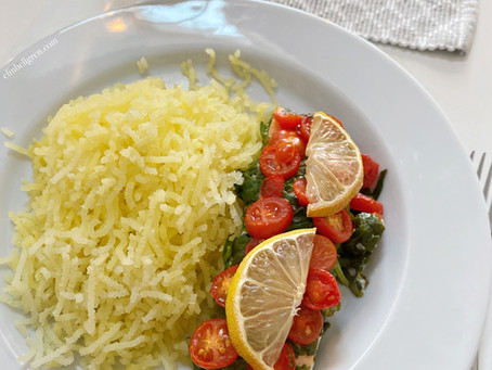 Lax med tomat, spenat & citron med pressad potatis