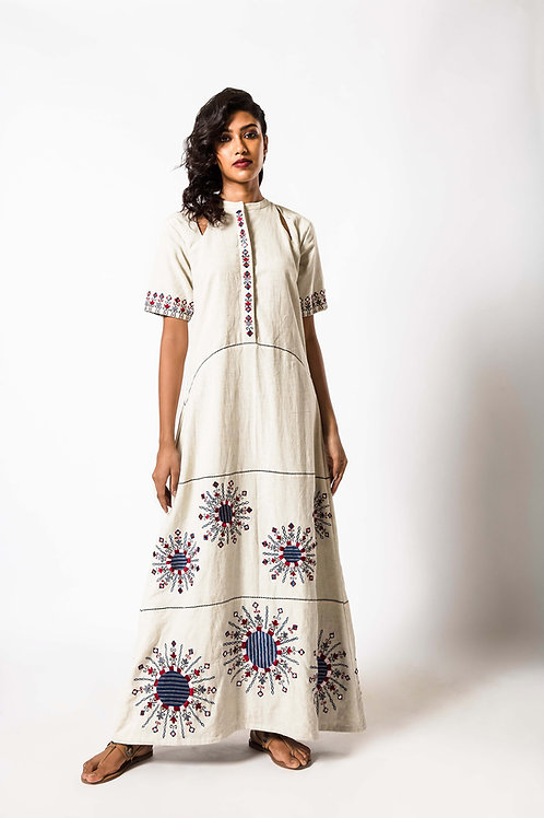 Foil Embroidered Full Length Dress With Shoulder cut out detail with Fabric butt
