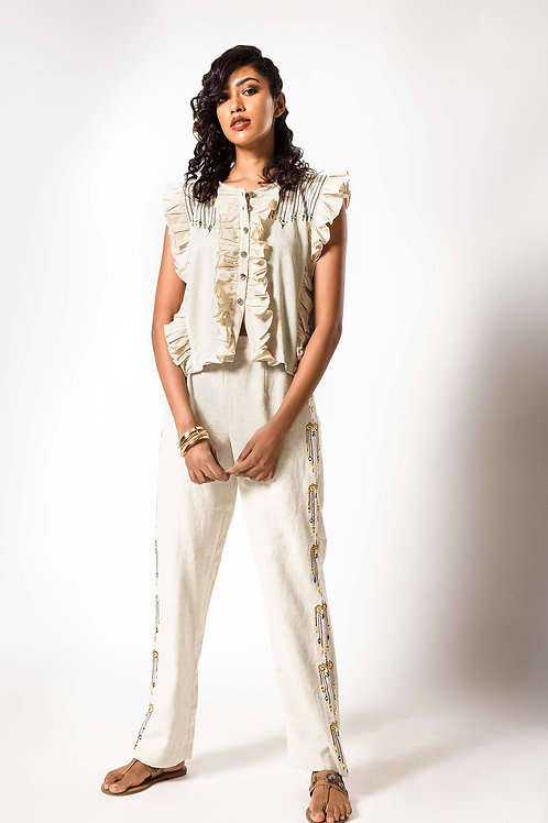 Foil Embroidered Frill Top and Pant Set