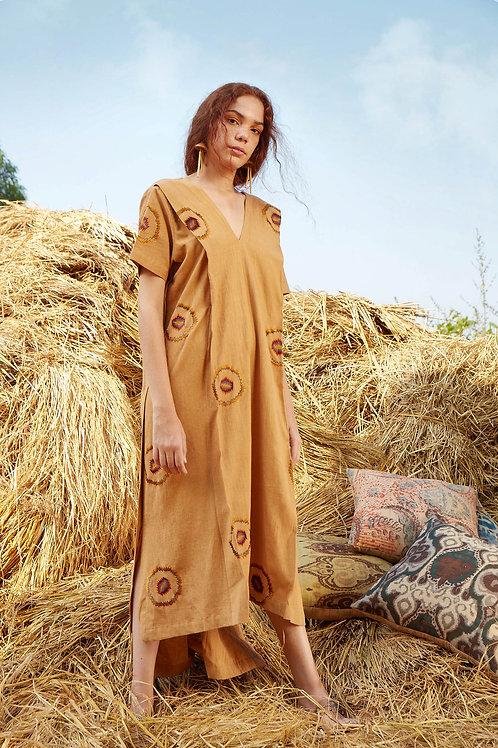 V-Neck Beige Embroidered High Low Dress