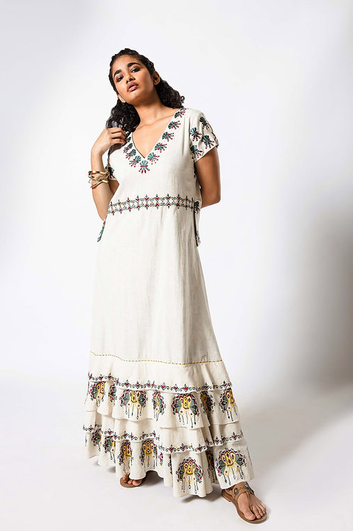 Full Length Foil Embroidered Frill Dress