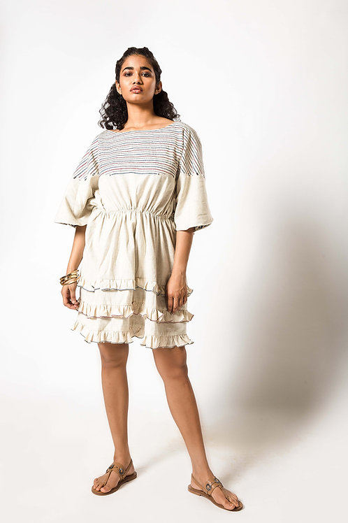 Foil Embroidered Layered Frill Dress