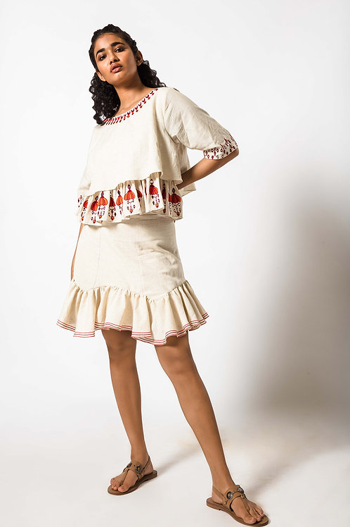 Foil Embroidered Layered Top and Frill Skirt