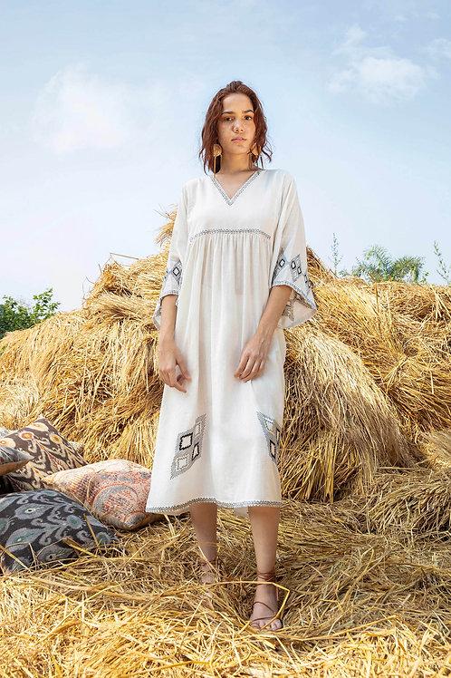 V-Neck Embroidered Dress-White