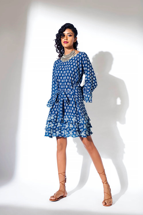 Tie up Frill Dress with Ari, with Sequins work on Sleeves and Frill