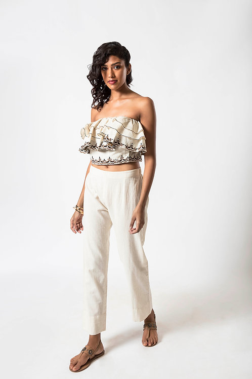 Foil Embroidered Frill Bustier with side Fabric Button Opening