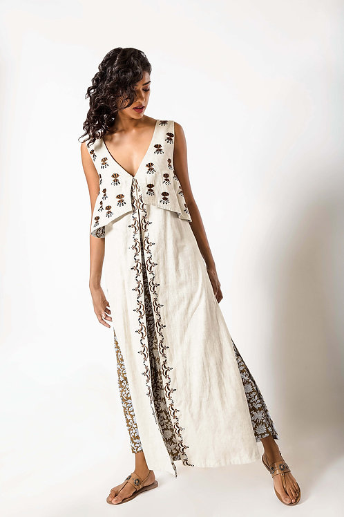 Full Length Foil Embroidered Sleeveless Layered Jacket