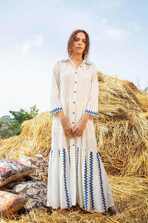 Embroidered Full Length Dress-White