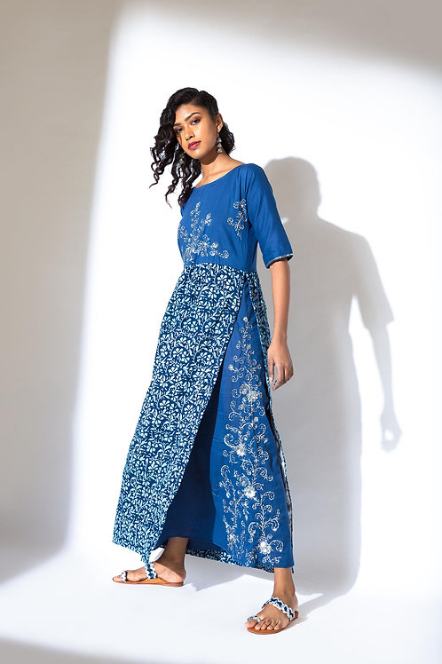 Slit Dress with Embroidered Yoke and Lining