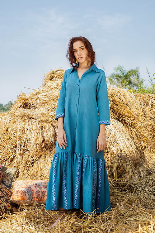 Blue Full Length Dress with Collar