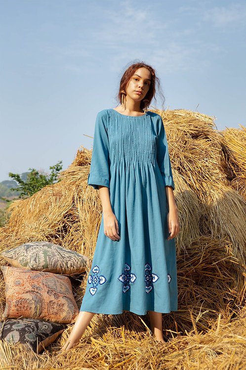 Blue Embroidered Pin Tuck Dress