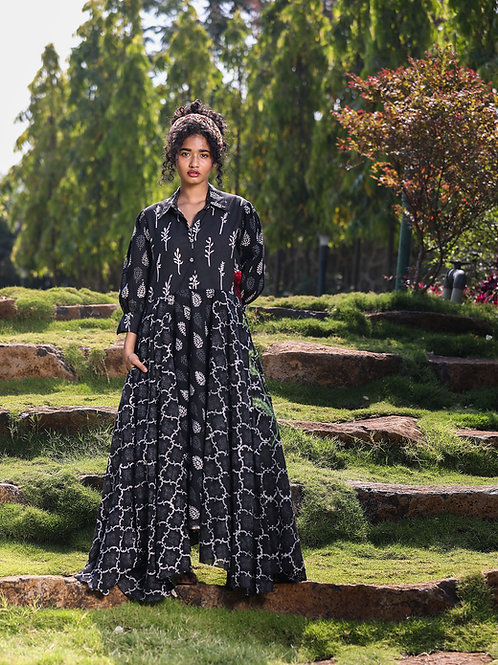 3 Patch Black Print Long Dress