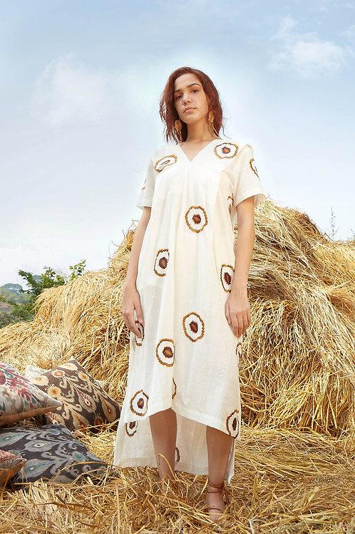 V-Neck Embroidered High Low Dress-White