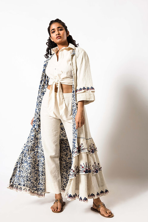 Foil Embroidered Long Frill Open Jacket with Front Tassel