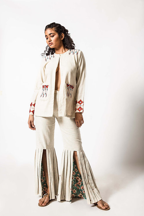 Foil Embroidered Open Jacket