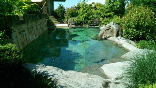 Ruinen Pool Felsen und Deko