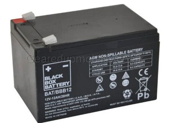 12v 12AH Black Box Battery