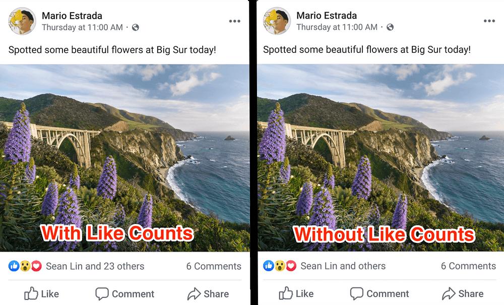 Как изглежда Facebook пост без брой харесвания?