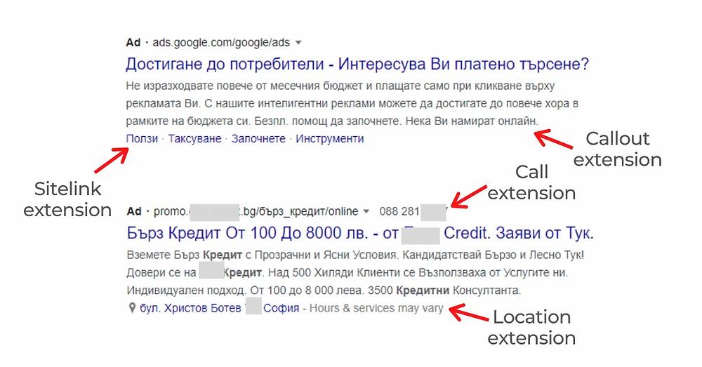 Разширения на рекламите в Google Ads