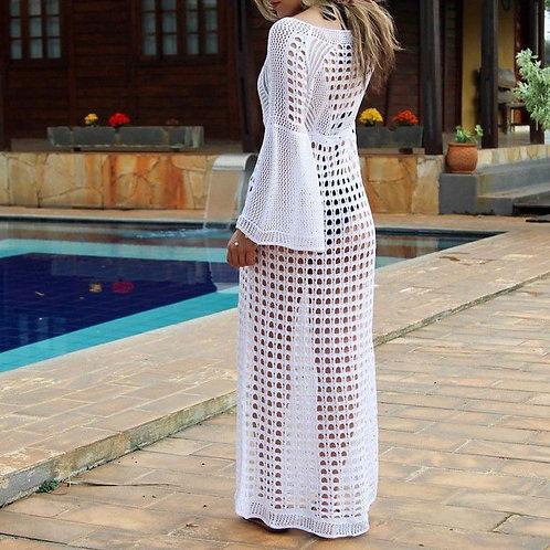 White Long Sleeve Cut Out Slit Beach Dress/ Sundress