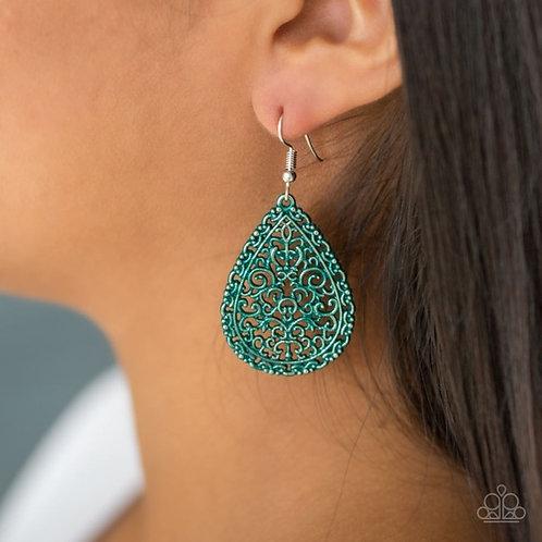 Indie Idol Green Vine Filigree Teardrop Earrings