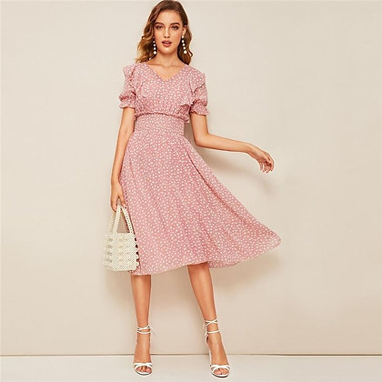 Pink Ruffle Trim Puff Sleeve Shirred Waist Fit and Flare Dress