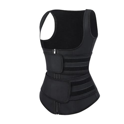 High Power Black Latex Double Belts Vest Shaper; XS - Plus Size Curve Shaping