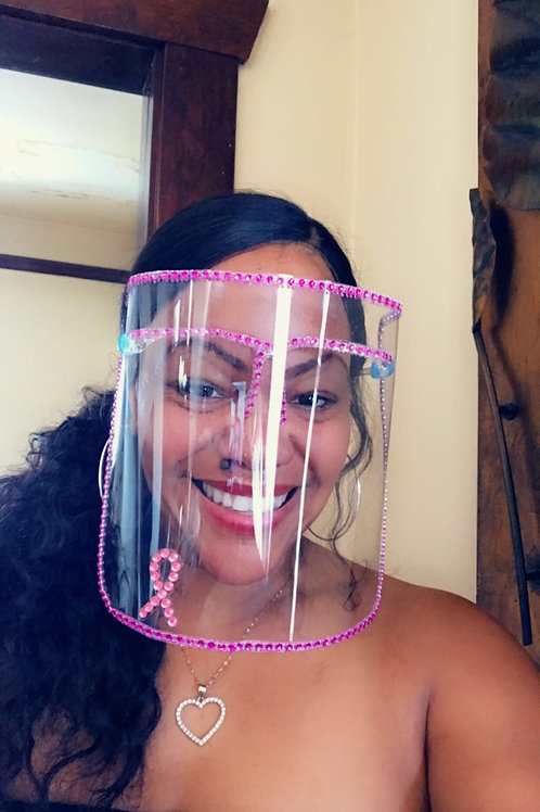 Breast Cancer Awareness Pink Bling Face Shields