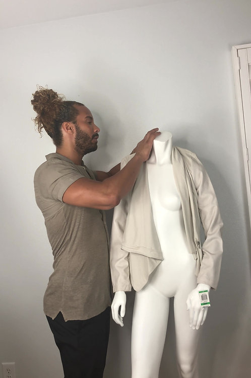 Beige Jacket with Leather Arms (Never Been Worn)