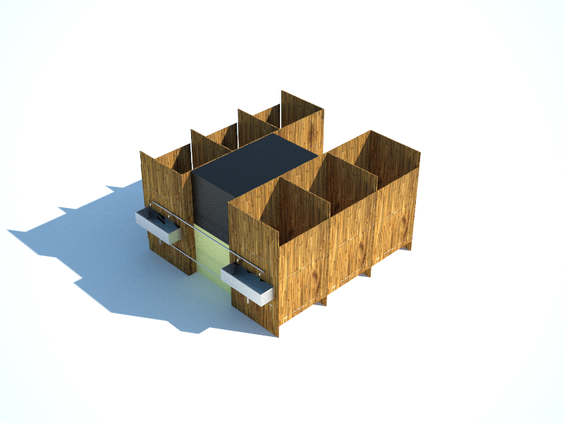 Our group has been focusing on designing the pavilion's facilities. Here an axonometry of the shared bathrooms, sinks are visible in the front, and, central, in black, the large water tanks.