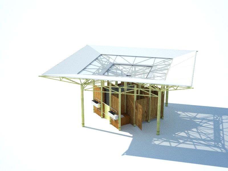 The building has a modular structure, with a square base (81mq), that uses two different gilder typologies. On these gilders, the roof takes the water like a waterfall from the center of the building. The water will serve toilets facilities. The modular rooftop structure makes easier the assembly and maintenance. The central transparent sheet exploits the zenithal sunlight. The pavilion can be joined with another one to extend the covered space.
