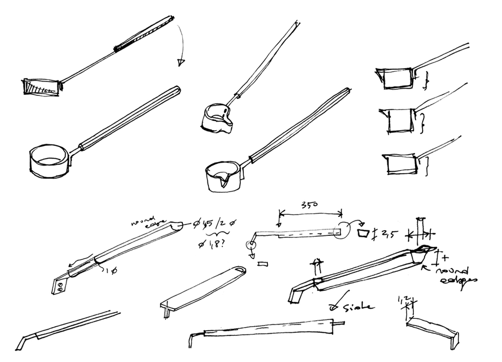 These are the initial study sketches of the ladle's handle. It's crucial to have a good grip with enough length to pour on the stove's rocks the water while staying seated.