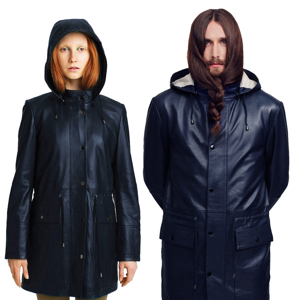 It is a unisex leather jacket, made with washable soft leather, which keeps humidity and light rain.  This feature has inspired me to design a fishermen-like raincoat. The detachable hood with a peak, deep and broad pockets, and the unisex looks come from the worker's clothes.