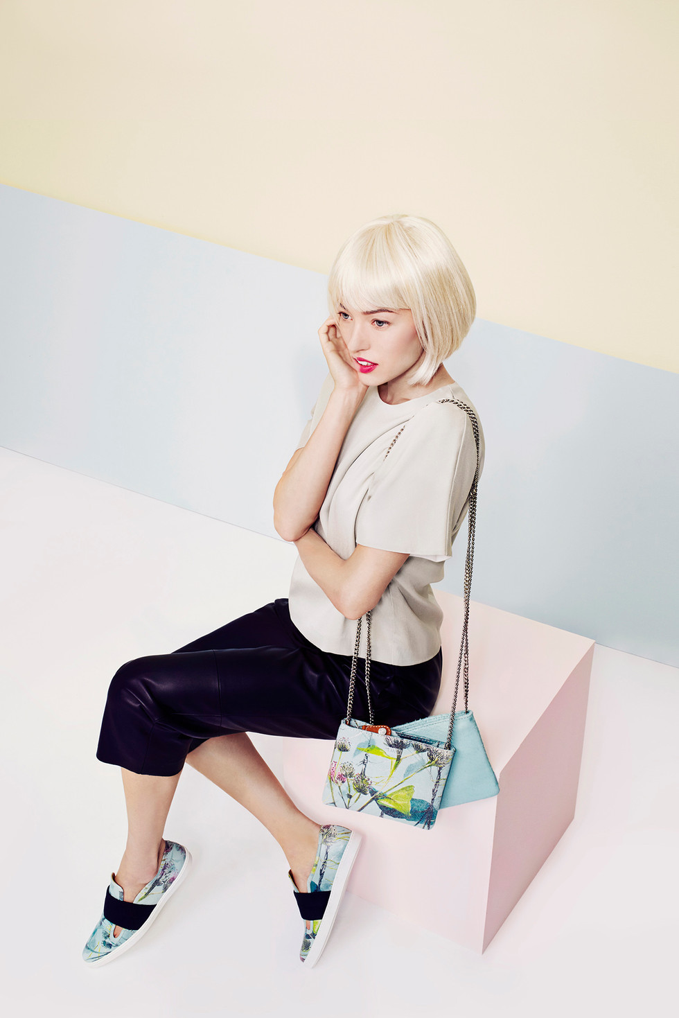 The shoe collection includes a few bag styles, creating a complete capsule collection.
