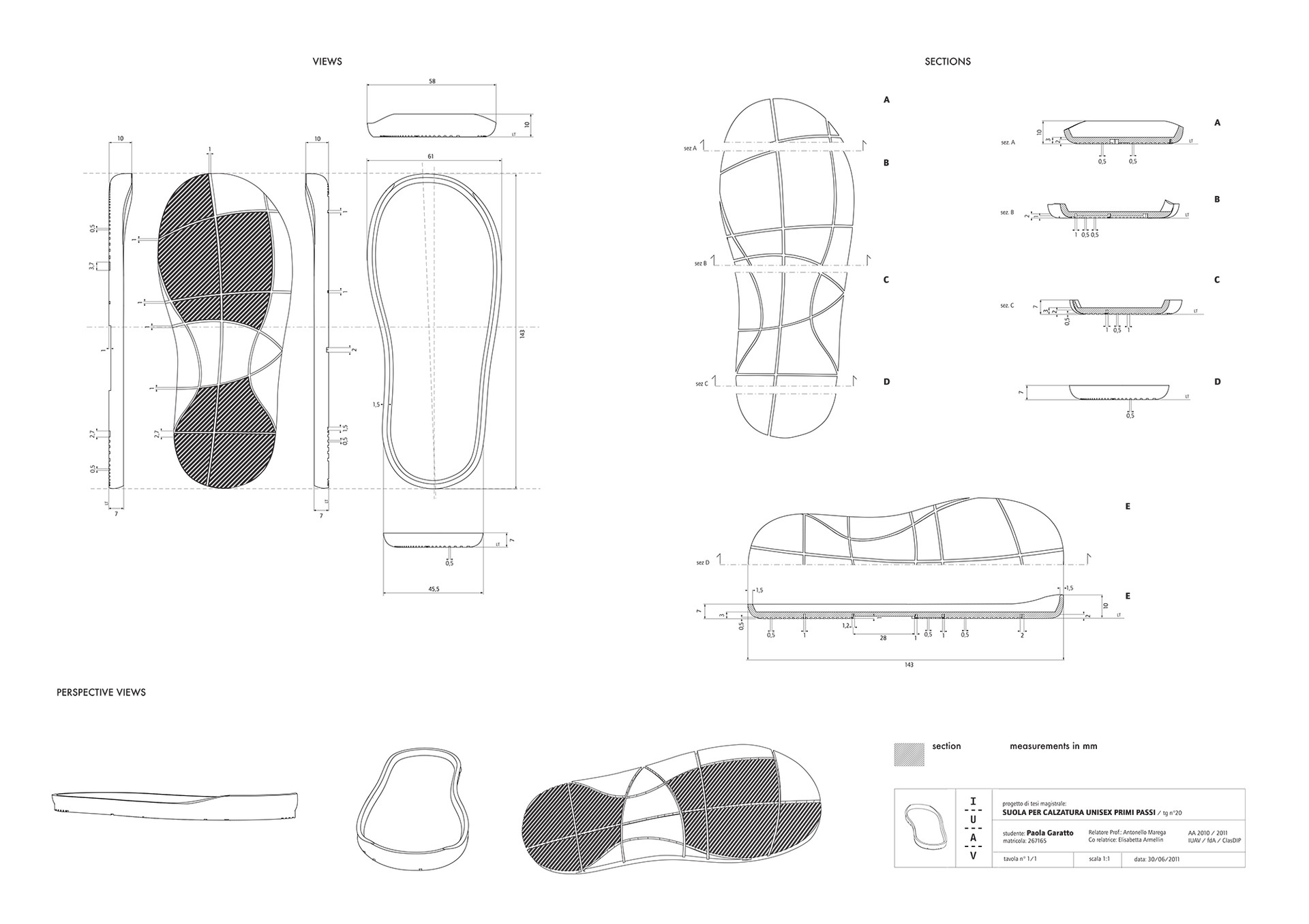 Outsole technical drawings.