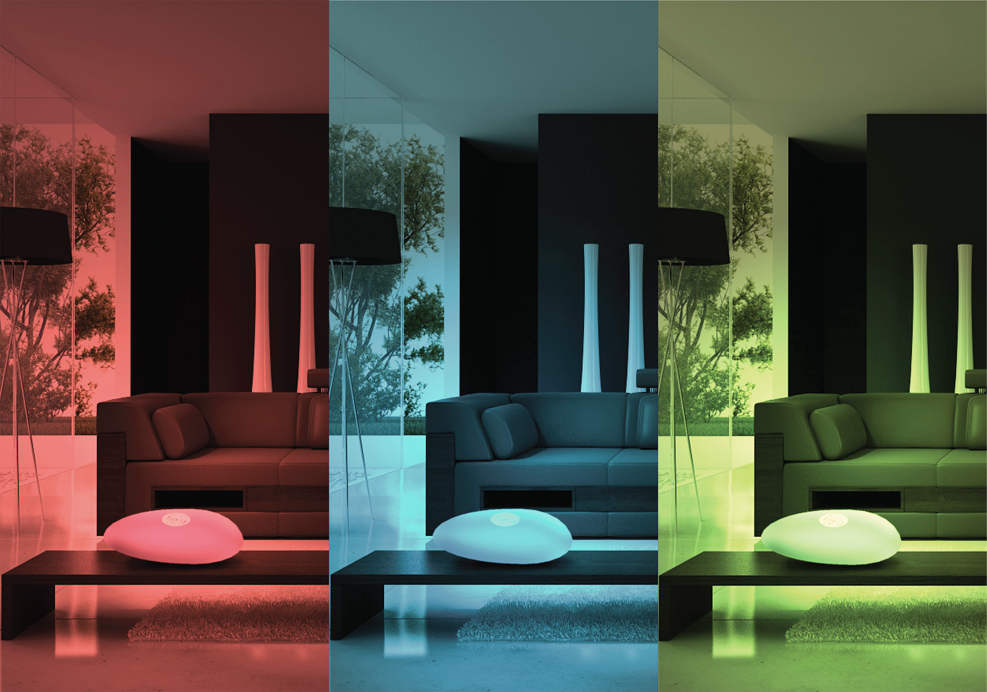 The colorful LED light, controlled by a touch screen, enables the user to create infinite interior moods.