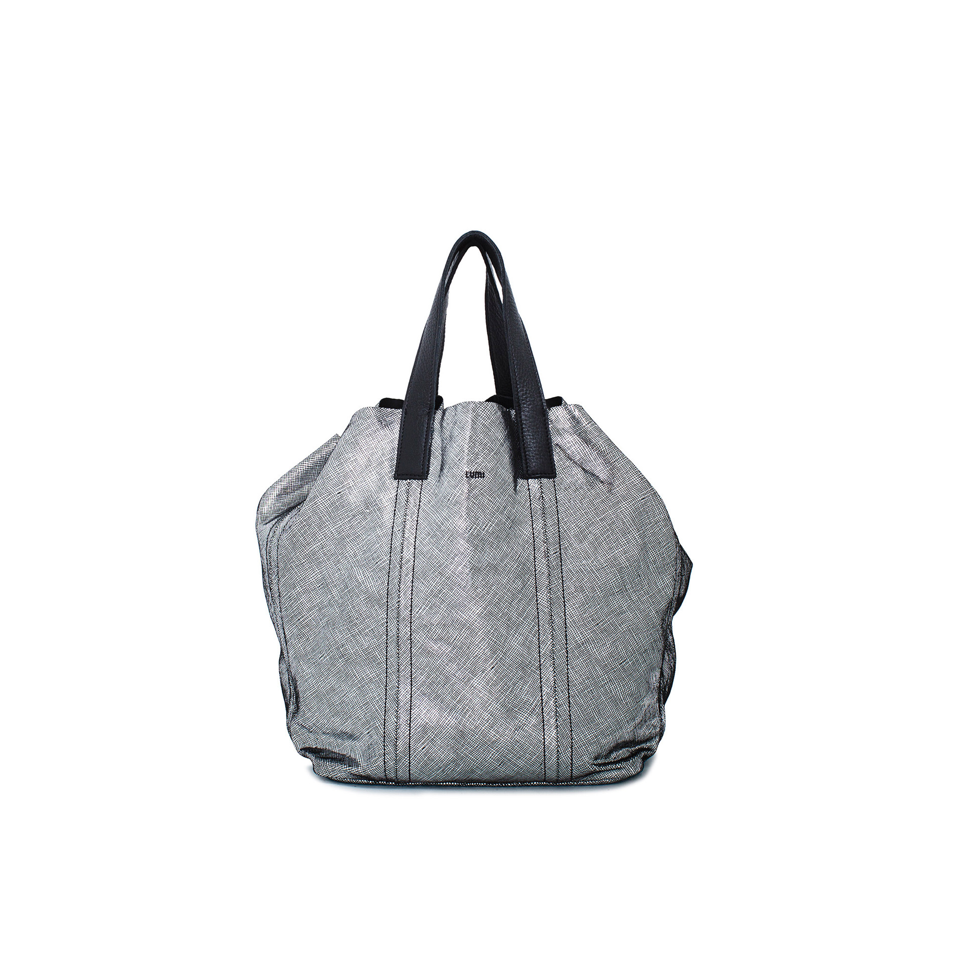 Large tote bag, in soft shiny metallic texturized leather.