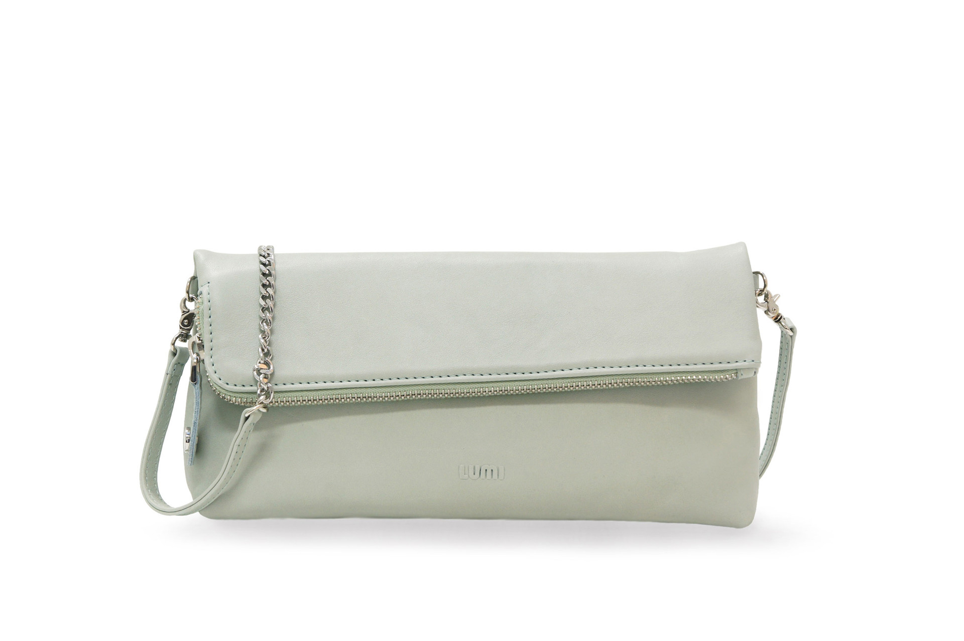 In veg tan leather, it is a small crossbody bag, sold in three colors, carbon, camel, and chalk (in the picture). With the detachable strap, it can be used as an evening pouch and a daytime bag.